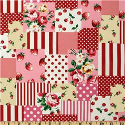 Kokka Trefle Oxford Cotton Canvas Berries Block Red