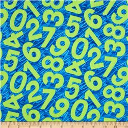 Happy Birthday Tossed Numbers Blue Fabric