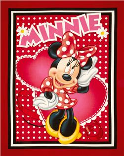 Minnie Hearts and Dots Wallhanging Panel Red