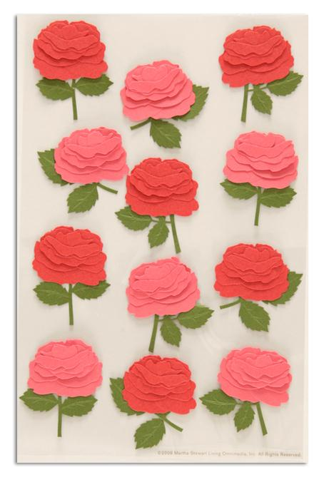 Martha Stewart Crafts Stickers Blooming Rose Pink/Red