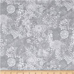 "108"" Wide Quilt Back Packed Floral Grey"