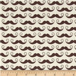 Riley Blake Geekly Chic Large Mustache Cream/Brown Fabric