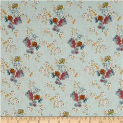 French Designer Cotton Voile Floral Blue/Orange/Pink