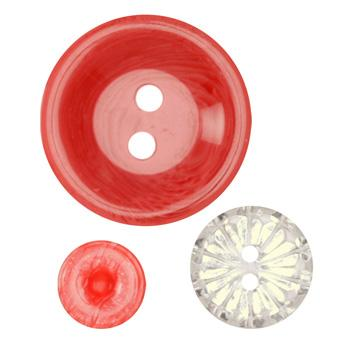 Fashion Buttons 1/2'', 3/4'', 1 1/4'' Coordinates Coral/Clear