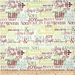 Riley Blake Postcards for Santa Sparkle Greetings Gold