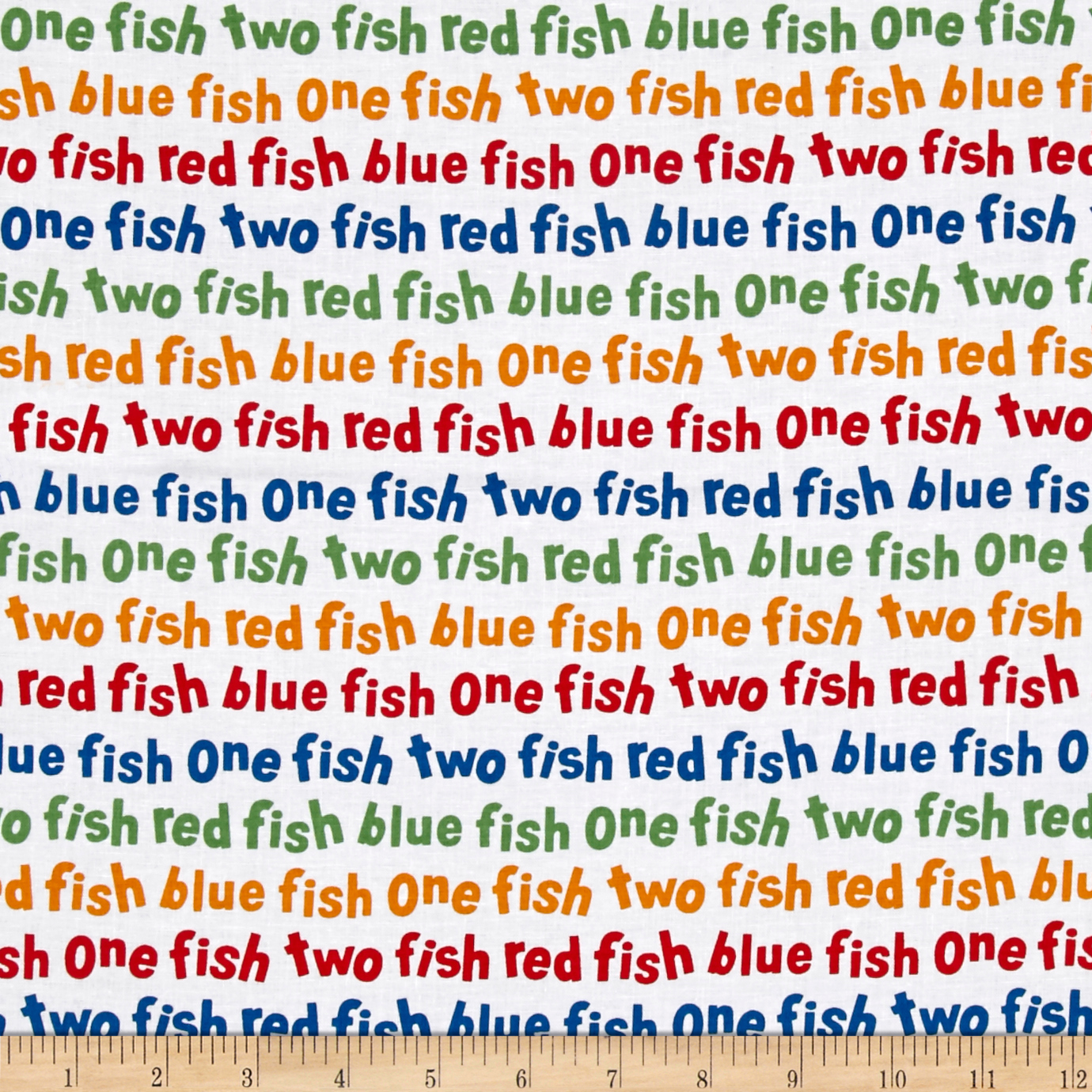 Dr. Seuss One Fish Two Fish Words Celebration Fabric
