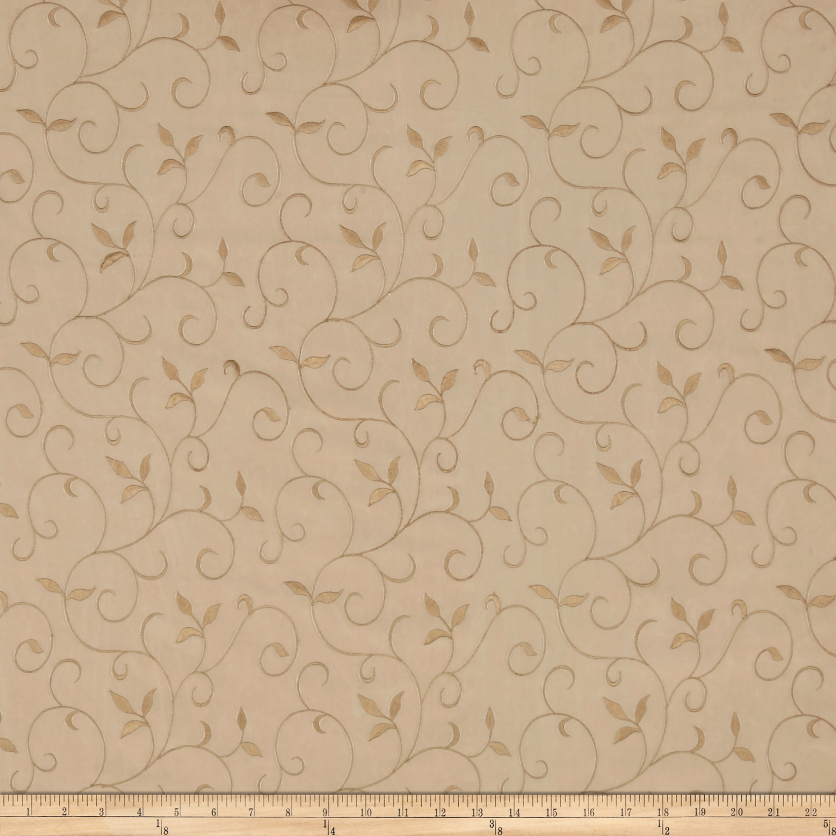 Richloom Archie Embroidered Tafetta Toast Fabric by TNT in USA