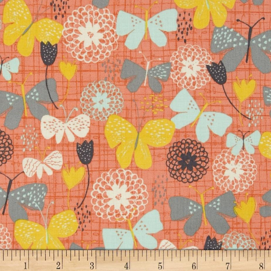 Bloom Butterflies & Stencil Floral Coral