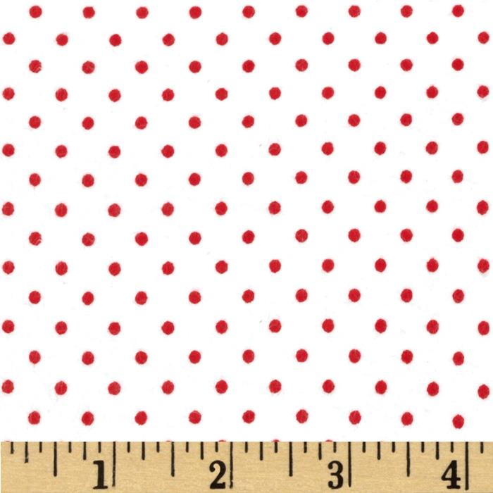 Basics Flannel Small Dot Red