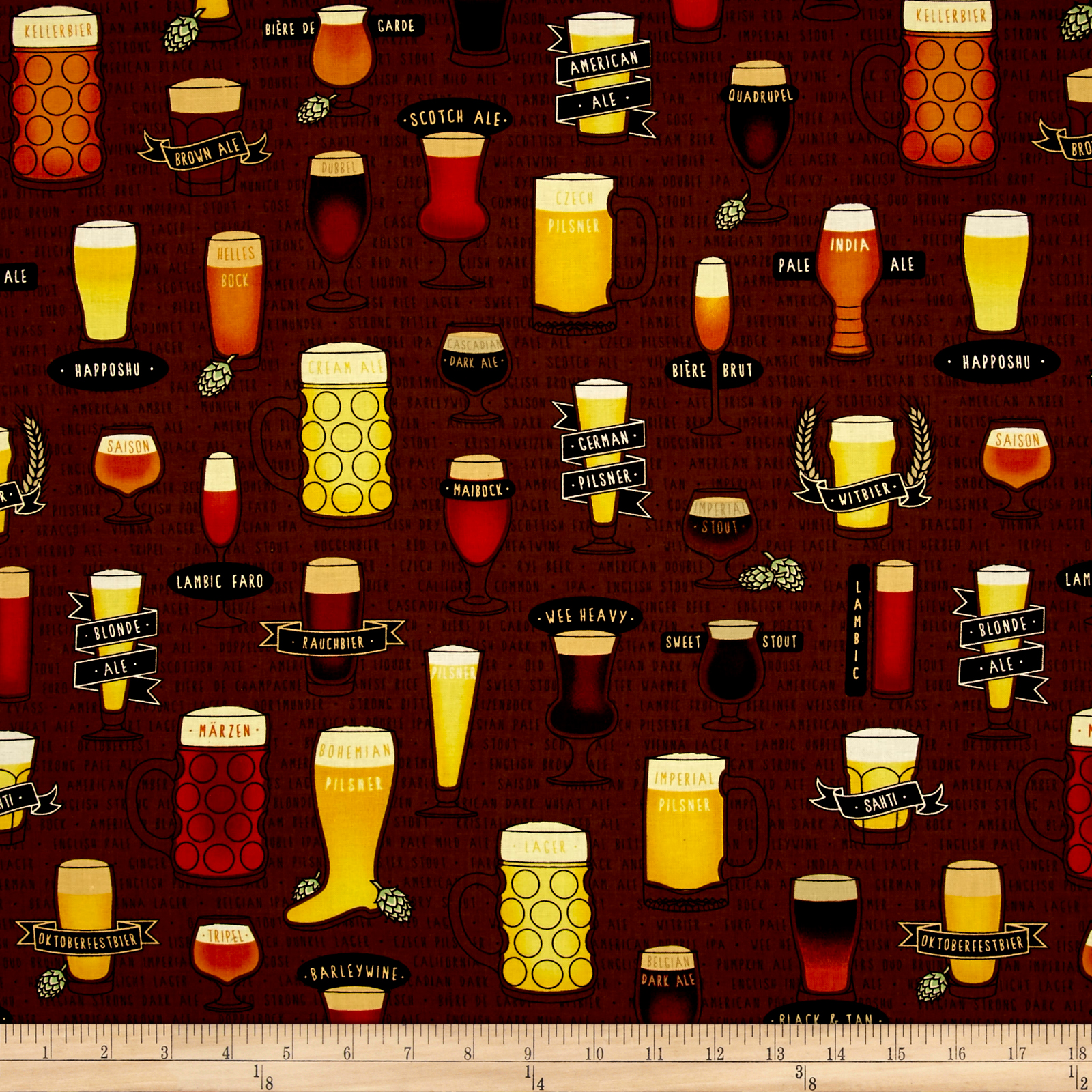 Image of In Doubt Drink Stout Craft Beer Allover Brown Fabric