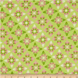 Winter Warmth Flannel Small Floral Snowflakes Light Green