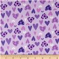 Lollipops Flannel Hearts Purple