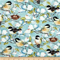 Feather Your Nest Birds & Flowers Teal