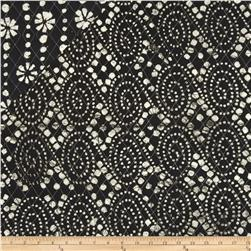 Double Sided Quilted Indian Batik Floral/Oval Black/White