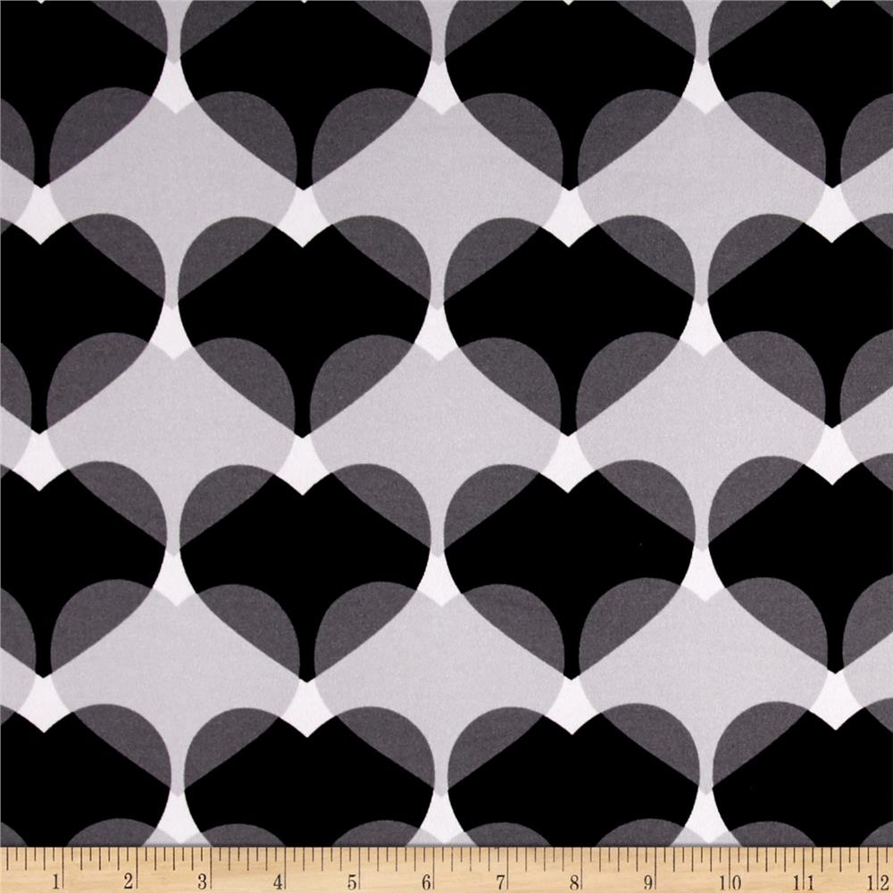 Stretch ITY Knit Heart Print Black/Grey