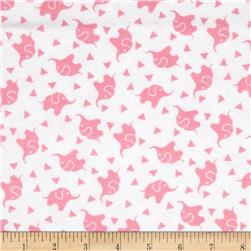 Dreamland Flannel Elephant Confetti  White/Pink Carnation
