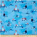 Kaufman Seaside Treasures Lighthouses Blue