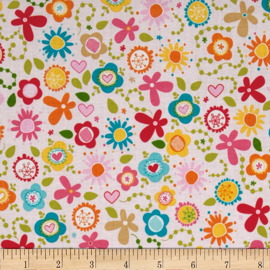Riley Blake Summer Breeze Tossed Floral Pink Fabric
