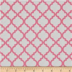 Bella Quatrefoil Flannel White/Pink Carnation