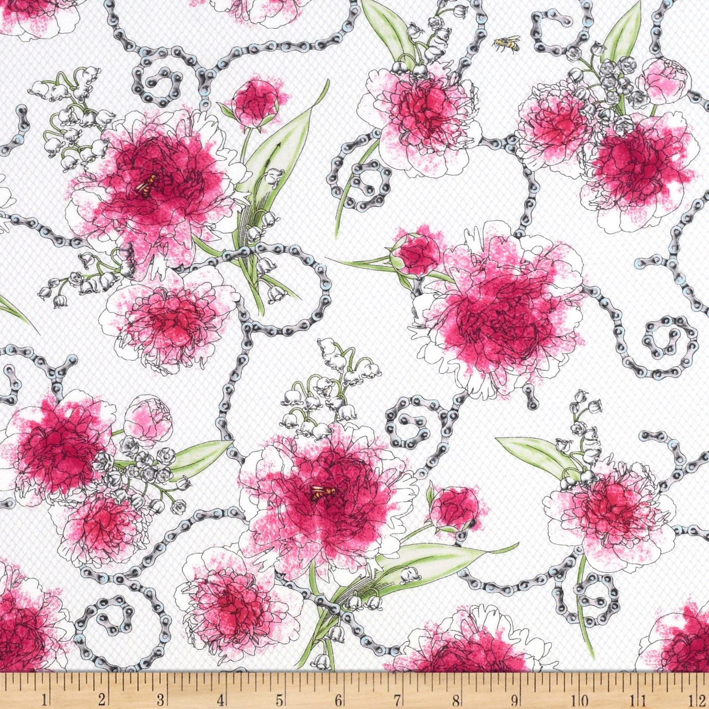 Sweet Rebellion Peonies White Fabric by Quilting Treasures in USA