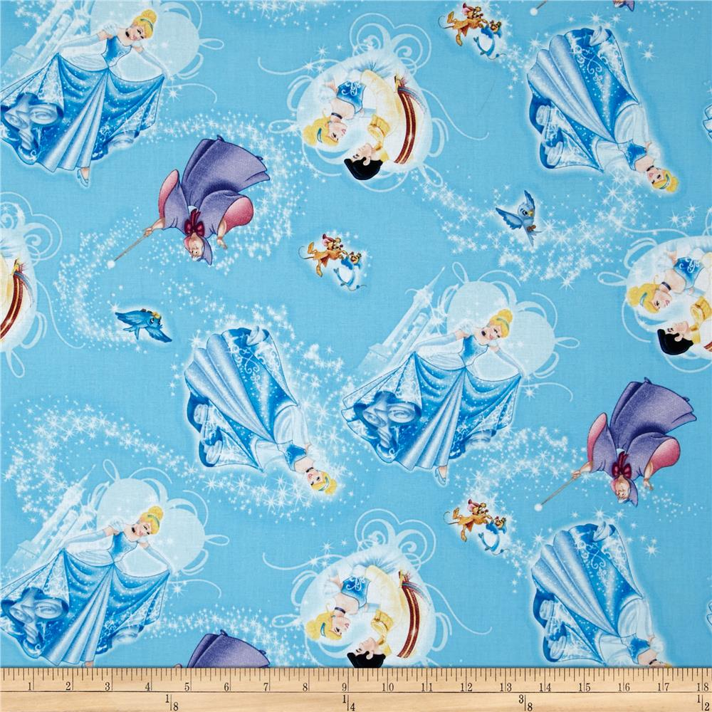 Disney princess movie cinderella character toss blue for Children s character fabric