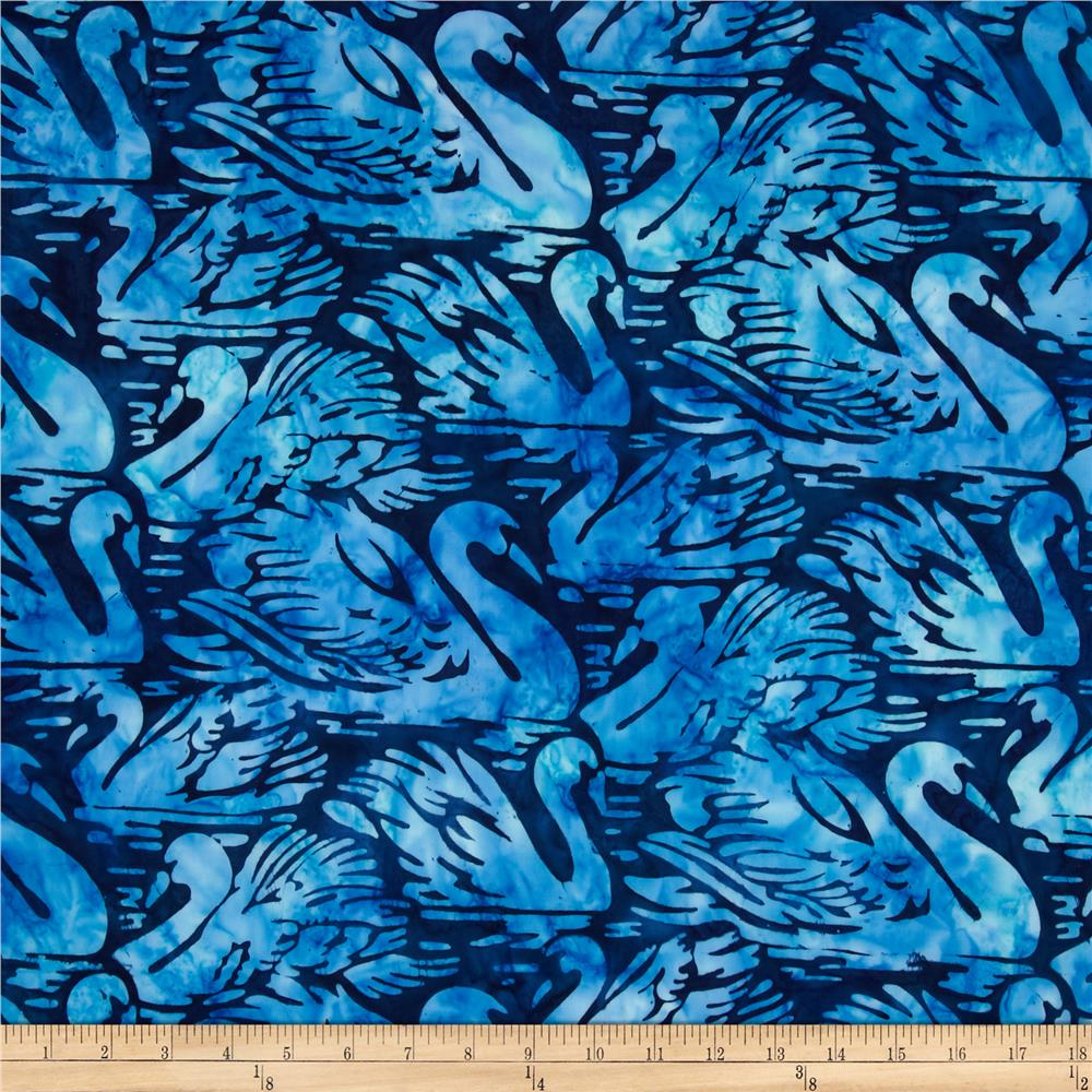 Artisan Batiks Wildlife Sanctuary Swans Blue