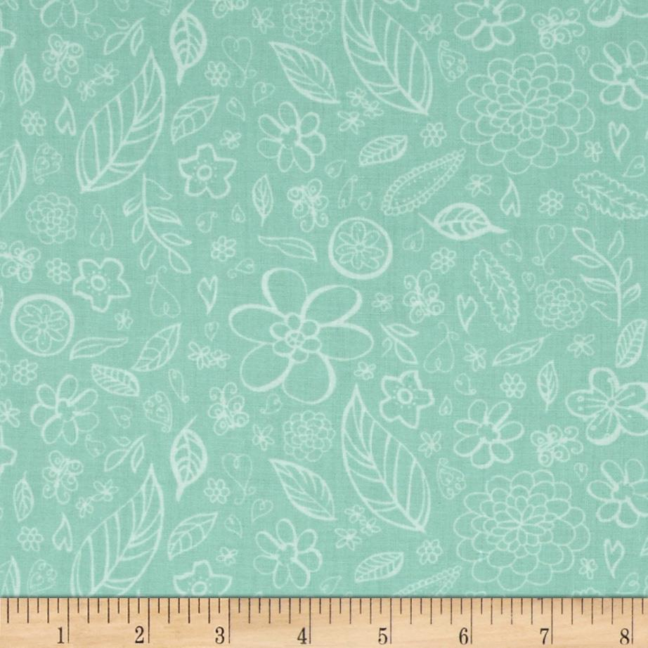 Sketchy Bird Leaves & Flowers Turquoise
