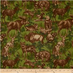 Timber Lodge Flannel Forest Animals With Trees Nature Green