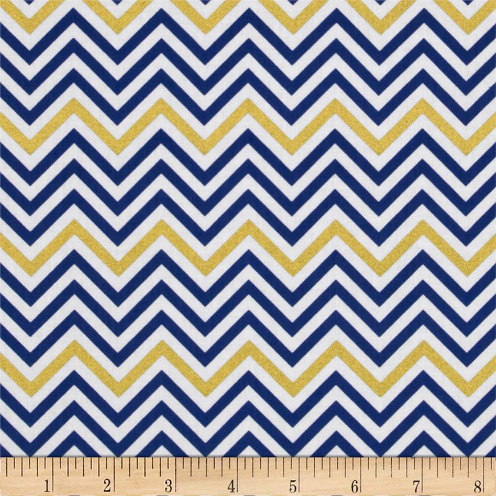 Remix Metallic Small Chevron Royal - Discount Designer Fabric ...