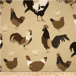 Duralee Roosters Slub Khaki/Brown Fabric
