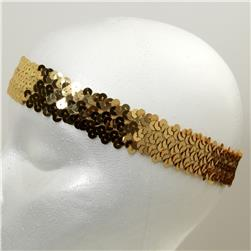 1 1/4'' Hologram Stretch Sequin Headband Gold