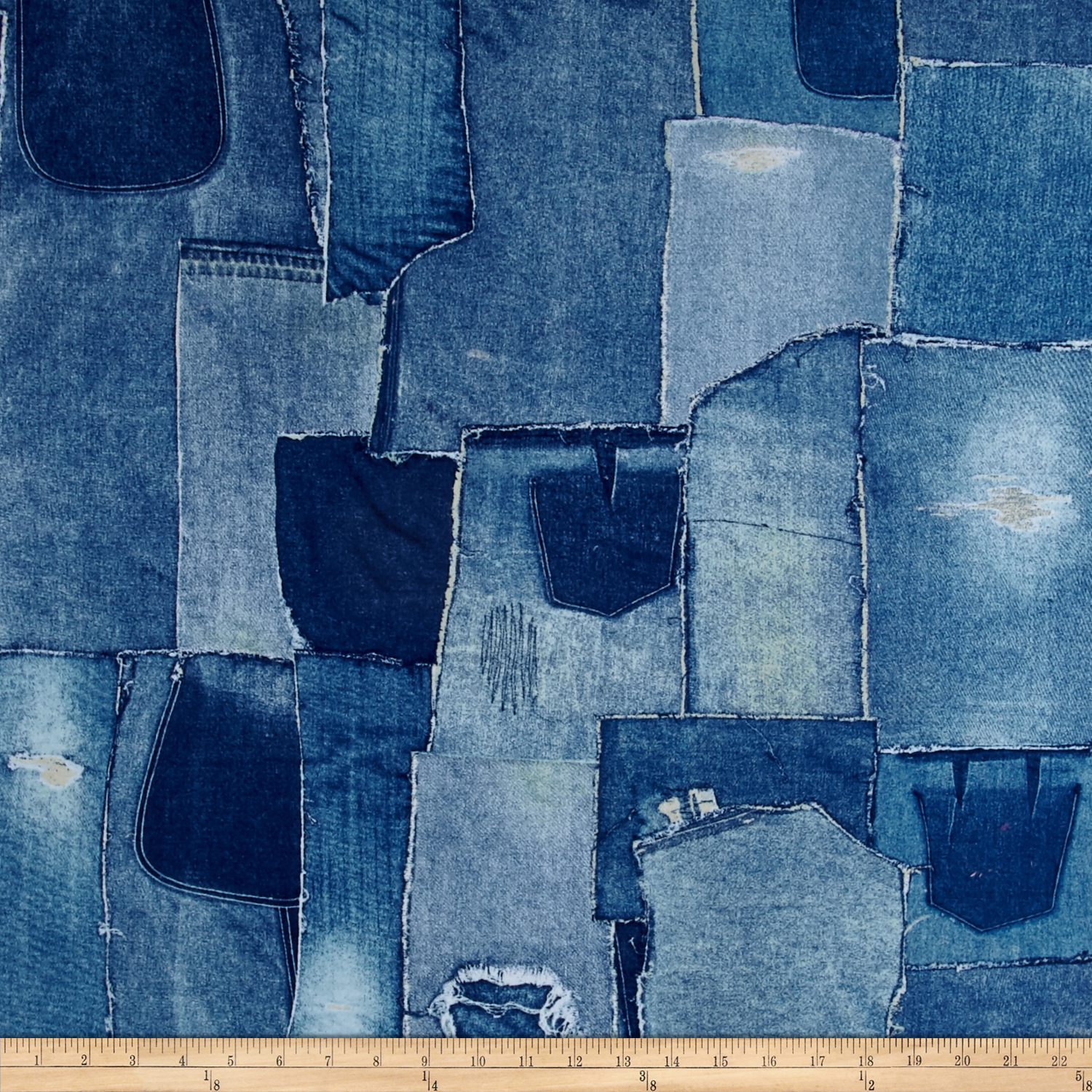 Limited Edition 108 In. Wide Back Denim Patchwork Fabric by Windham in USA