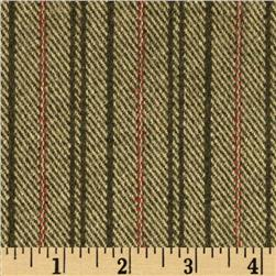 Wool Blend Coating Line Stripes Cream/Green
