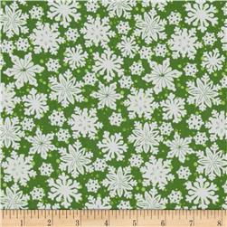 Seasons Greetings Imagine Snowflakes Green
