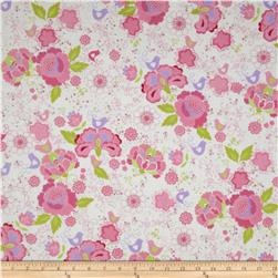Flannel Birds & Florals White Fabric