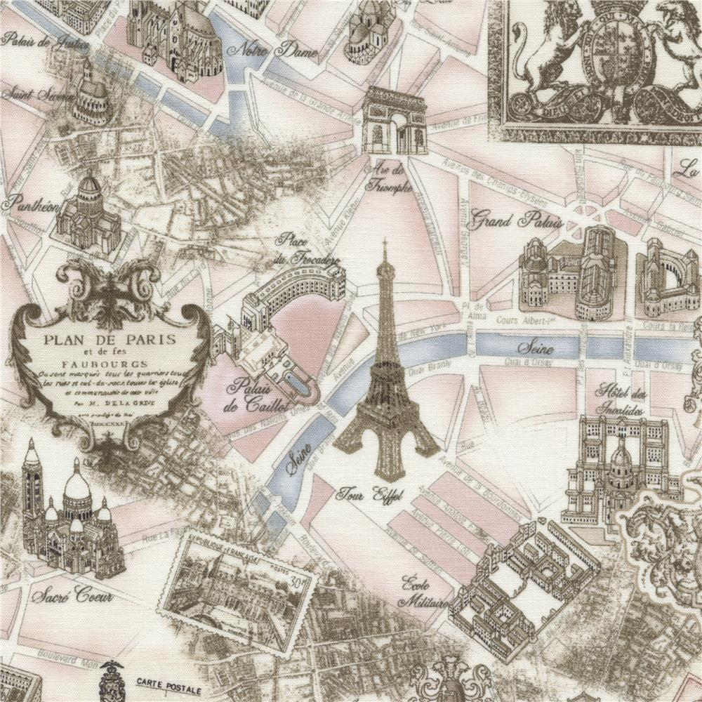 Timeless Treasures Tres Jolie Paris Map Pink