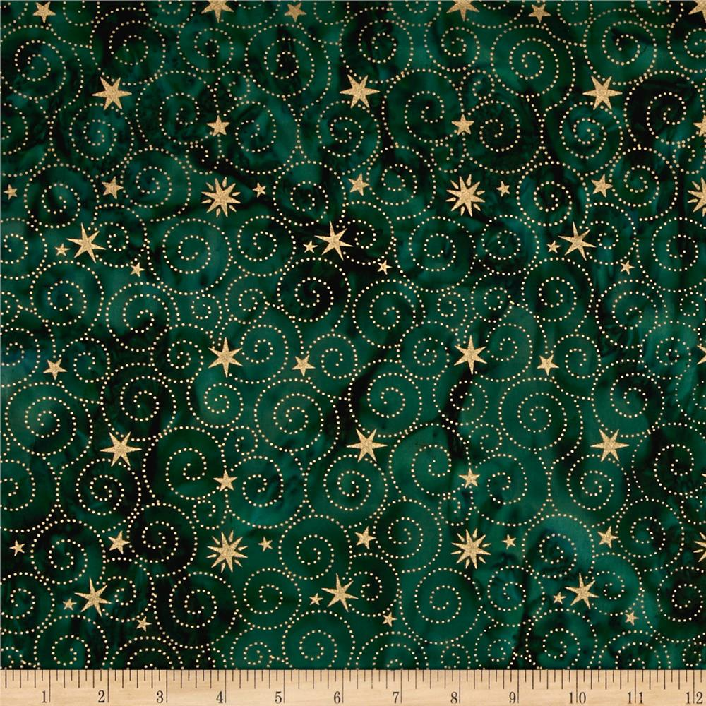 Island Batik Holiday Happenings Metallic Star Swirl Green