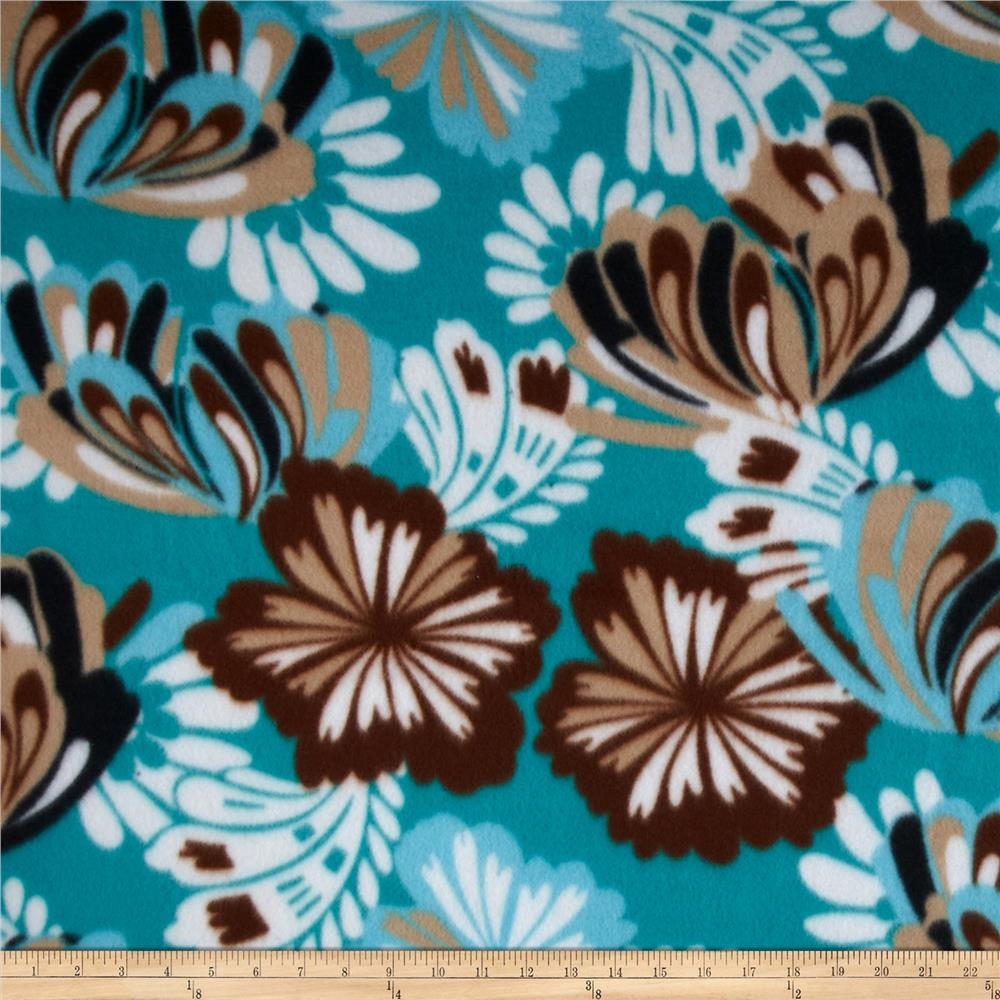Polar Fleece Prints Flutter Teal/Tan