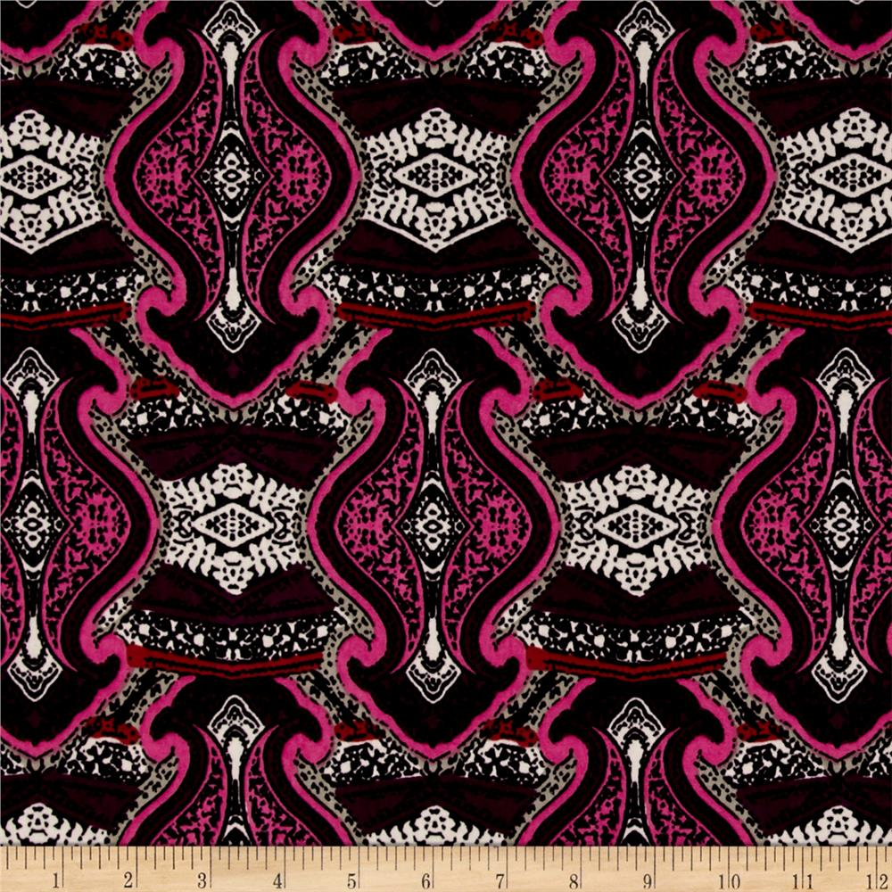 Stretch ITY Knit Damask Swirl Print Fuchsia