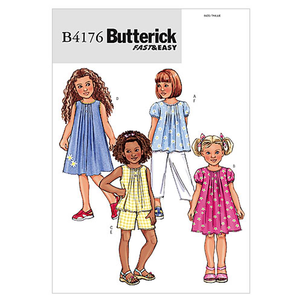 Butterick Children's/Girls' Top, Dress, Shorts and Pants Pattern B4176 Size 020