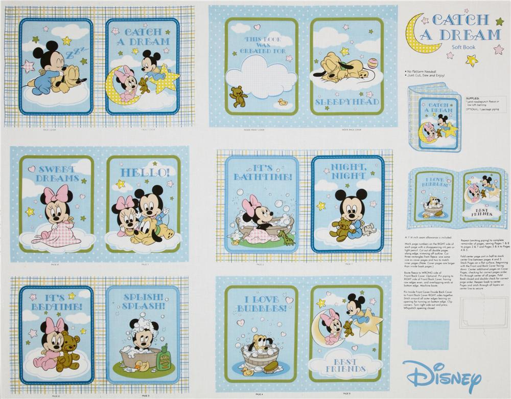 Mickey & Minnie Catch A Dream Soft Book Panel Blue