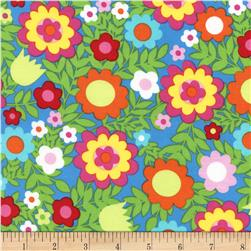 Timeless Treasures Tribeca Multi Floral Blue Fabric