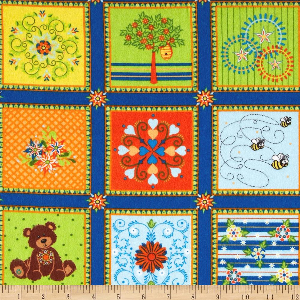 Mystic Forest Flannel Animal Blocks Blue
