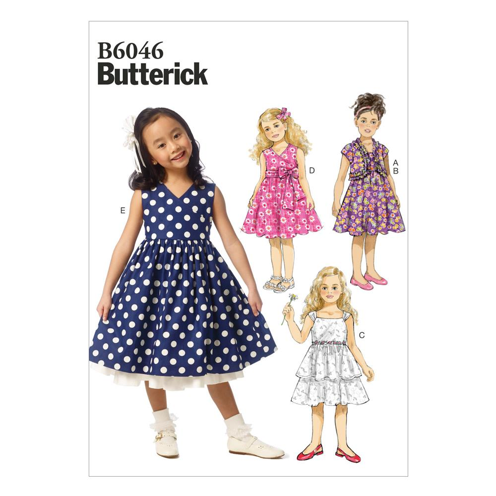 Butterick children 39 s girls 39 shrug and dress pattern b6046 for Childrens dress fabric
