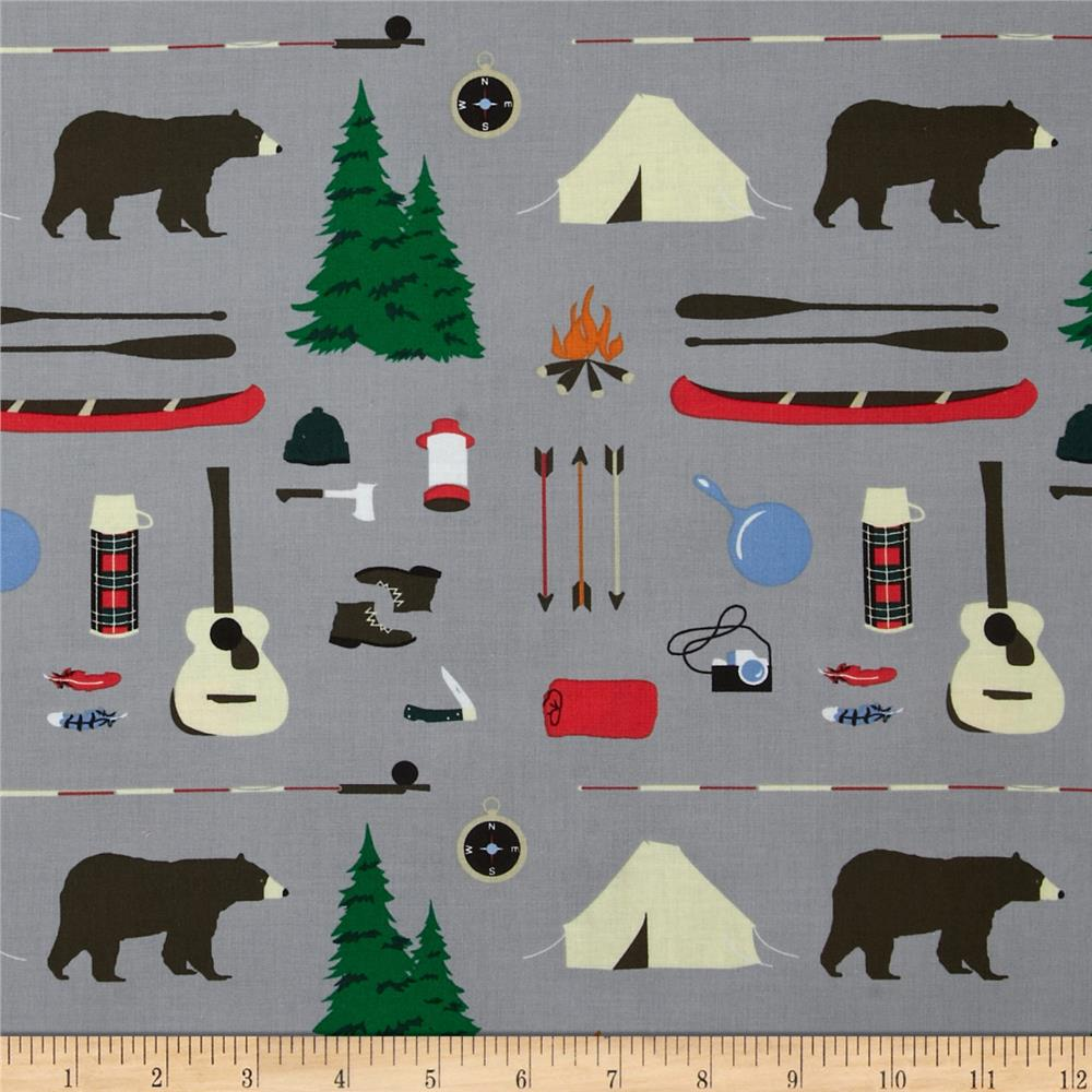 Take a Hike Camping Motifs Grey