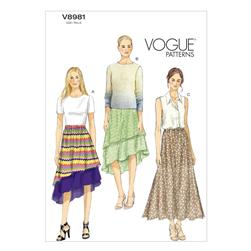 Vogue Misses' Skirt Pattern V8981 Size 0Y0