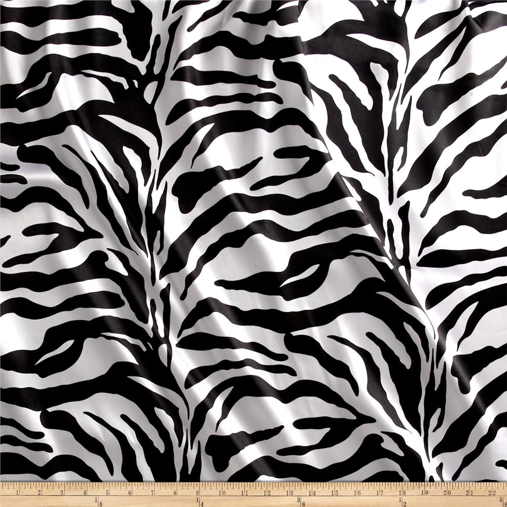 Charmeuse Satin Zebra Black White Fabric