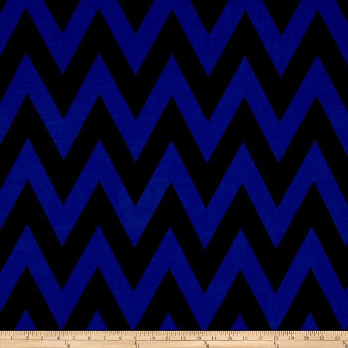 Stretch ITY Jersey Knit Chevron Blue