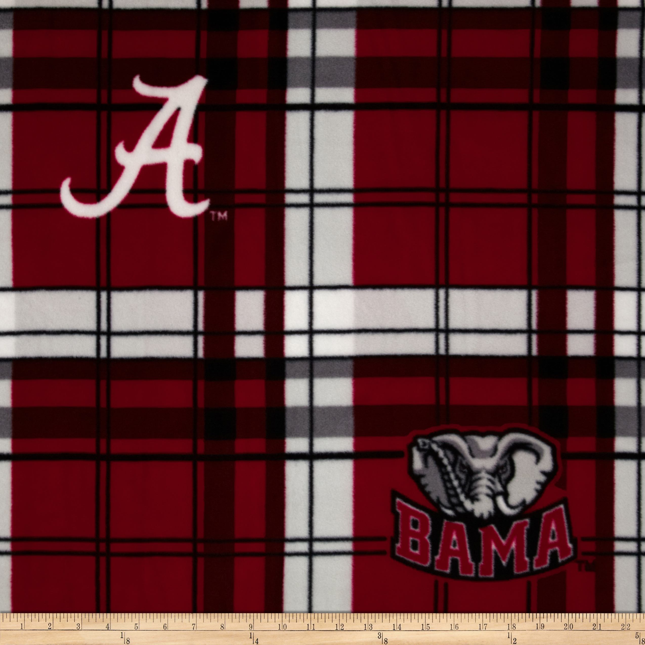 University of Alabama Fleece Plaid Crimson Fabric