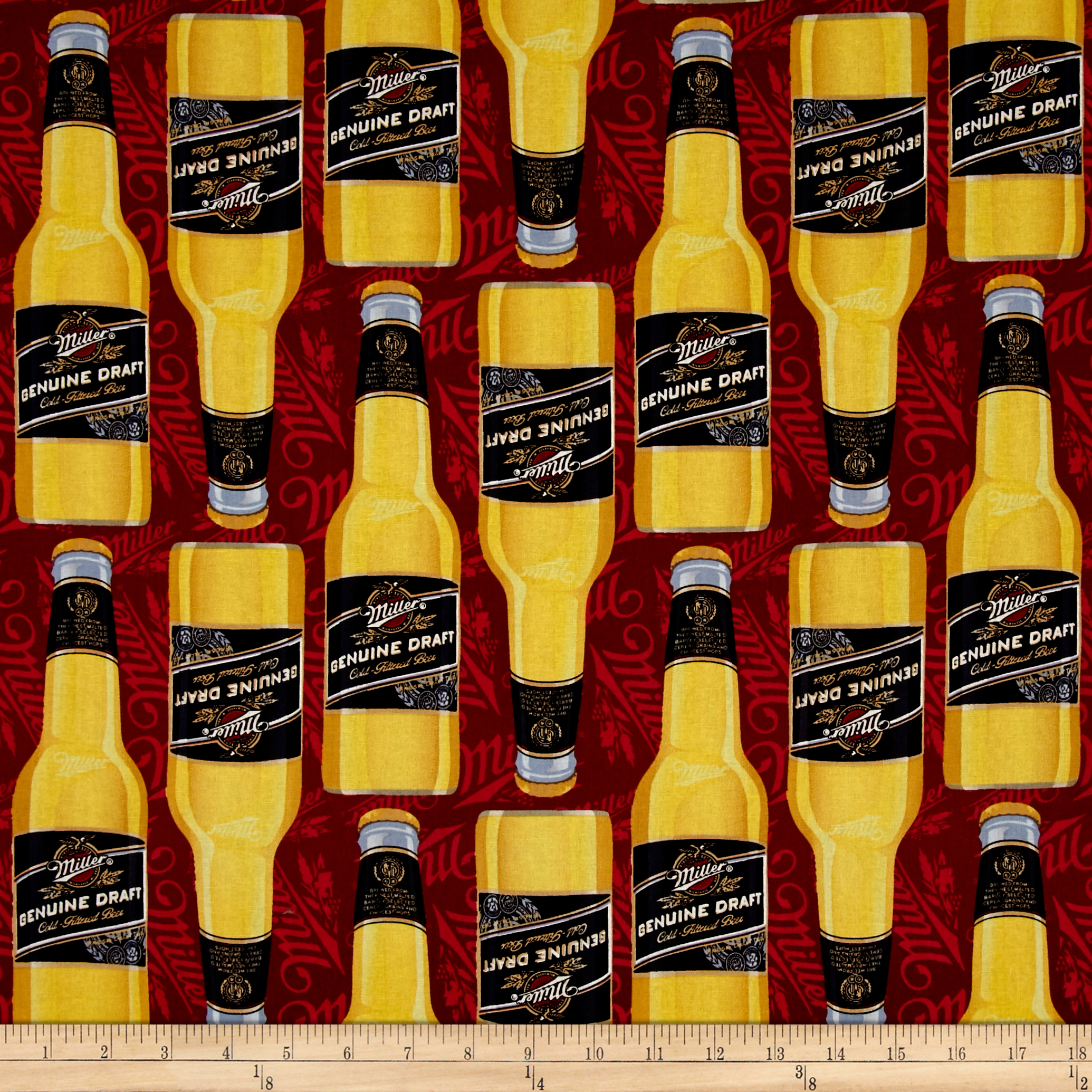 MillerCoors Genuine Draft Bottles Red Fabric by E. E. Schenck in USA